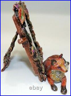 Jay Strongwater Personally Signed Figural Fox Picture Frame W Swarovski Crystals