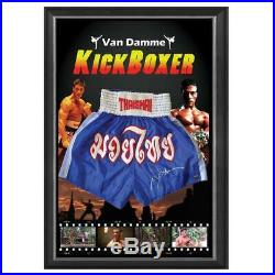 Jean Claude Van Damme Jcvd Hand Signed Framed Kickboxing Trunks Photo Proof Coa