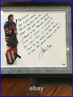 Jim Craig Hand signed 16x20 Story photo 1980 Usa Hockey framed Suede Steiner COA