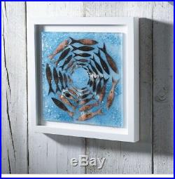 Jo Downs Handmade Fused Glass LARGE CORNISH PILCHARDS Signed Frame Picture Fish