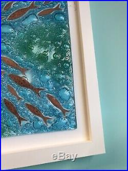 Jo Downs Handmade Glass LARGE! Bamaluz Signed Frame Picture New Boxed Aqua Fish