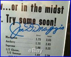 Joe DiMaggio Signed Framed Menu DiMaggio Italian Restaurant COA Autographed