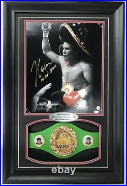 Julio Cesar Chavez Signed Picture Coa Wpjsa Framed With A Belt And Nameplate