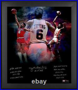 Julius Erving Philadelphia 76ers Framed Signed 20 x 24 In Focus Photograph