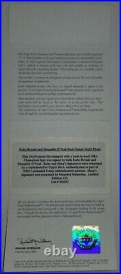 KOBE BRYANT SHAQUILLE O'NEAL Dual Signed UDA Mounted Memories 16x20 Photo #/125
