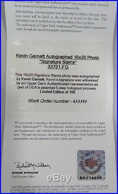 Kevin Garnett Autographed Signed Framed 16x20 Photo #25/100 UDA Holo #BAJ14899