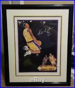 Kobe Bryant #8 Signed Framed Litho 16x20 Full Auto Psa Dna Cert W Michael Jordan