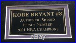 Kobe Bryant Signed Lakers #8 Jersey Number 2001 finals PHOTO framed PSA 32X32