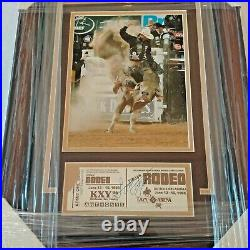 LANE FROST Autographed Signed Cut Photo JSA Framed Matted 1/1 1985 Rodeo Ticket