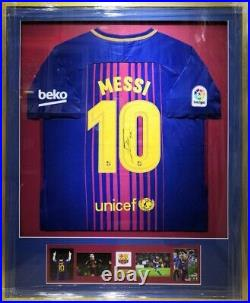 LIONEL MESSI Autograph Signed Jersey Barcelona Photos Logo Plaque Framed COA