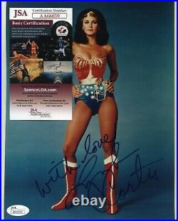 LYNDA CARTER signed 8x10 FRAMED JSA COA Autograph 1980s WONDER WOMAN signature