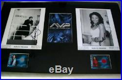 Lance Henriksen & Sanaa Lathan signed Alien vs Predator 8x10 movie photos FRAMED