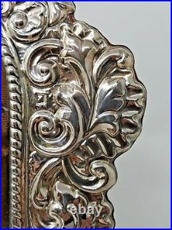 Large Sterling Silver Picture Frame Repousse Italy Signed Photo Vintage Italian