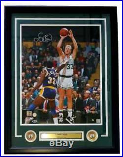 Larry Bird Signed Framed Boston Celtics 16x20 White Jersey Photo Beckett+Bird