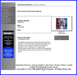 Lebron James & Carmelo Anthony Hand Signed Framed Photo Composite Upper Deck Uda