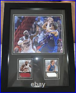Lebron James & Dirk Nowitzki Autographed Photo With Jersey Cards /299 Framed COA
