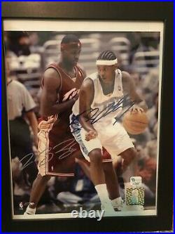 Lebron James and Carmelo Anthony Dual Signed Photo In Custom Frame
