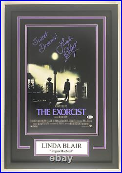 Linda Blair Autograph Signed The Exorcist 11x17 Movie Poster Framed BAS COA