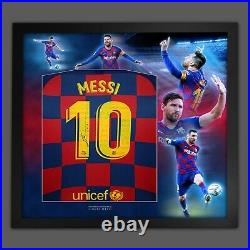 Lionel Messi Hand Signed Barcelona Fc Football Shirt In Framed Picture Display