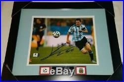 Lionel Messi Signed Team Argentina Framed Autograph 8X10 Photo GA COA LEO