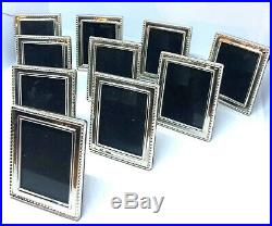 Lot 10 Signed Sterling Silver Miniature Picture Frames 2 1/6 X 1 11/16