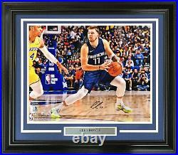 Luka Doncic Mavericks signed 16x20 Step back 3 photo Framed Autograph Fanatics