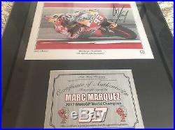 MARC MARQUEZ Repsol Honda. Hand signed, framed photo 2017. CoA