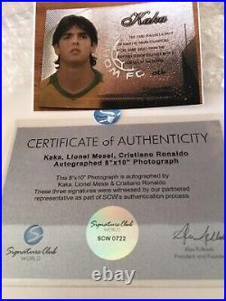 MESSI RONALDO KAKA Autograph Signed Photo 8x10 2007 Swatch Card Frame Plaque COA