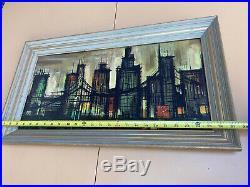 MID Century Modern Bernard Buffet New York Skyline 58 Framed Picture