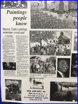 Maurice Cook Signed Black Americana Folk Art Framed Print Picture Ribs BBQ Coke