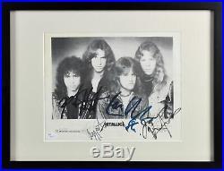 Metallica (4) Hetfield, Burton, Ulrich & Hammett Signed 8.5x11 Framed Photo JSA