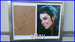 Michael Jackson Authenic Autographed Signed Paper Envelope Color Photo in Frame