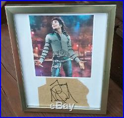 Michael Jackson Authentic Autographed Signed Paper Cut with Photograph in Frame