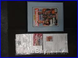 Michael Jordan Bird Magic Signed Newsweek Magazine 14.5x17 Framed Jsa Loa Ph723
