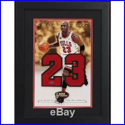 Michael Jordan Chicago Bulls Framed Signed 24 x 18 1998 Champs Jersey Number