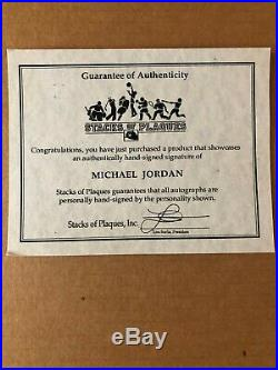 Michael Jordan Chicago Bulls Signed 8x10 Photo Framed with Stacks of Plaques COA