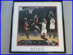 Michael Jordan In Action Framed Signed 16x16 Photo Auto UDA BAFE99134