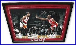 Michael Jordan Signed 24X16 Photo vs. Drexler Bulls 10/223 UDA CREASED Framed
