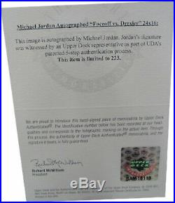 Michael Jordan Signed Auto 24X16 Photo Faceoff vs. Drexler Bulls /223 UDA Framed