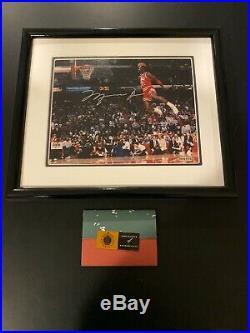 Michael Jordan Signed Autographed Framed 8x10 Photo Upper Deck Slam Dunk UDA