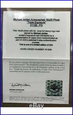 Michael Jordan UDA Signed 16x20 Triple Exposure Framed Photo LE #160/223 Auto