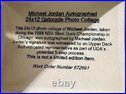 Michael Jordan UDA signed 24x12 Autograph 1988 Gatorade Dunk Frame Collage auto
