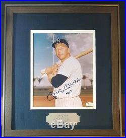 Mickey Mantle Signed Autographed Photo No. 7 JSA 16x14 Framed Matted Yankees
