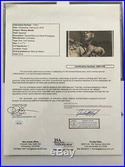 Mickey Mantle Singe Signed Auto Autograph Photo Frame Jsa Coa Letter Hof Yankees