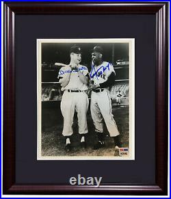 Mickey Mantle Willie Mays signed 8x10 photo framed 2 Mint auto HOF PSA LOA