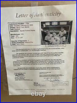 Mickey Mantle Yogi Berra Whitey Ford autographed photo framed 31x29 JSA COA