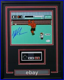 Mike Tyson Signed Framed 8x10 Punch Out Photo with Nintendo Controller JSA ITP
