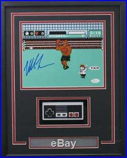 Mike Tyson Signed Framed Boxing 8x10 Punch Out Photo with Nintendo Controller JSA