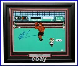 Mike Tyson Signed in Blue Framed 16x20 Punch Out Boxing Photo JSA