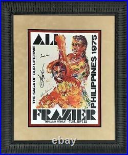 Muhammad Ali & Joe Frazier Signed Autographed Neiman Fight Poster FRAMED JSA COA
